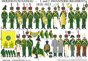 Tafel 173: Herzogtum Nassau: 1. und 2. Infanterie-Regiment 1810-1813