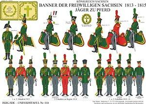 Tafel 119: Königreich Sachsen: Banner der Freiwilligen Sachsen 1813-1815, Jäger zu Pferd