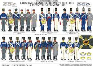 Tafel 146: Königreich Preußen: 1. Reserve-Infanterie-Regiment 1813-1815