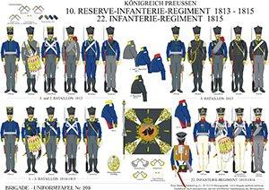 Tafel 209: Königreich Preußen: 10. Reserve-Infanterie-Regiment 1813-1815