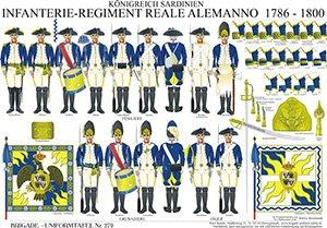 Tafel 279: Königreich Sardinien: Deutsches Infanterie-Regiment Reale Alemanno 1786-1800