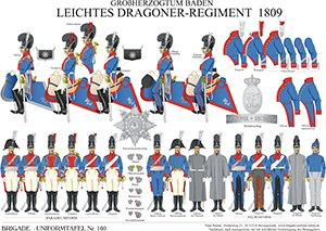 Tafel 160: Großherzogtum Baden: Leichtes Dragoner-Regiment 1809