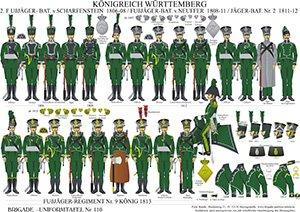 Tafel 110: Königreich Württemberg: Jäger-Bataillon No.2 1807-1812 / Infanterie-Regiment No.9 Jäger K