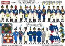 Tafel 310: Königreich Sardinien: Regiment Garde 1814-1815