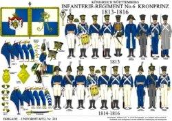 Tafel 319: Königreich Württemberg: Infanterie-Regiment No.6 Kronprinz 1813-1816