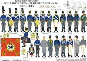 Tafel 181: Königreich Preußen: 1. Schlesisches Infanterie-Regiment No.10 1812-1815