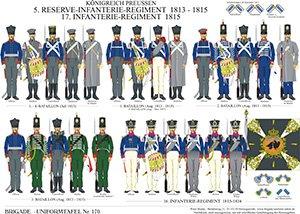 Tafel 170: Königreich Preußen: 5. Reserve-Infanterie-Regiment 1813-1815