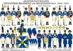 Tafel 364: Grossherzogtum Baden: Infanterie-Regiment von Neuenstein Nr.4 1814-1815