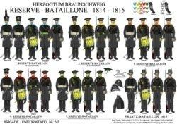 Tafel 243: Herzogtum Braunschweig: Reserve-Bataillone 1814-1815 / Ersatz-Bataillon 1815