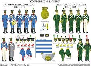Tafel 102: Königreich Bayern: National-Feldbataillone / Freiwilliges Jägerkorps 1813-1815