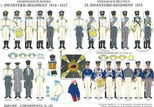 Tafel 166: Berg: 1. Infanterie-Regiment 1814-1815 / Königreich Preußen: 28. Infanterie-Regiment 1815