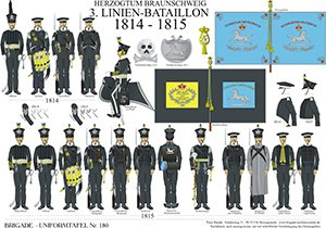 Tafel 180: Herzogtum Braunschweig: 3. Linien-Bataillon 1814-1815