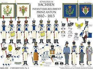 Tafel 5: Königreich Sachsen: Infanterie-Regiment Prinz Anton 1810-1813
