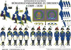 Tafel 225: Königreich Sachsen: Bürger-Gensdarmerie zu Dresden 1809-1830