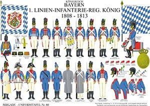 Tafel 80: Königreich Bayern: 1. Linien-Infanterie-Regiment König 1808-1813