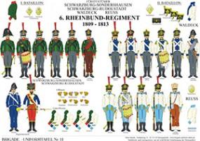 Tafel 11: Fürstentümer Schwarzburg, Waldeck, Reuss: 6. Rheinbund-Regiment 1807-1812