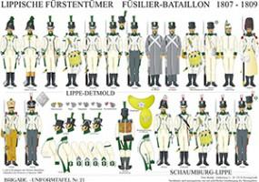 Tafel 21: Lippische Fürstentümer: Infanterie-Bataillon 1807-1809