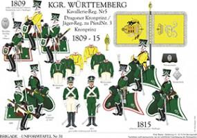 Tafel 31: Königreich Württemberg: Dragoner-Regiment Kronprinz 1810-1815