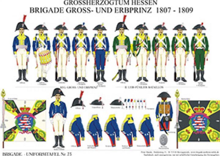 Tafel 73: Großherzogtum Hessen-Darmstadt: Brigade Groß- und Erbprinz 1807-1809