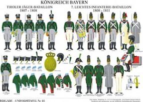 Tafel 95: Königreich Bayern: Tiroler Jäger-Bataillon 1807-1808 / 7. Leichtes Infanterie-Bataillon 18