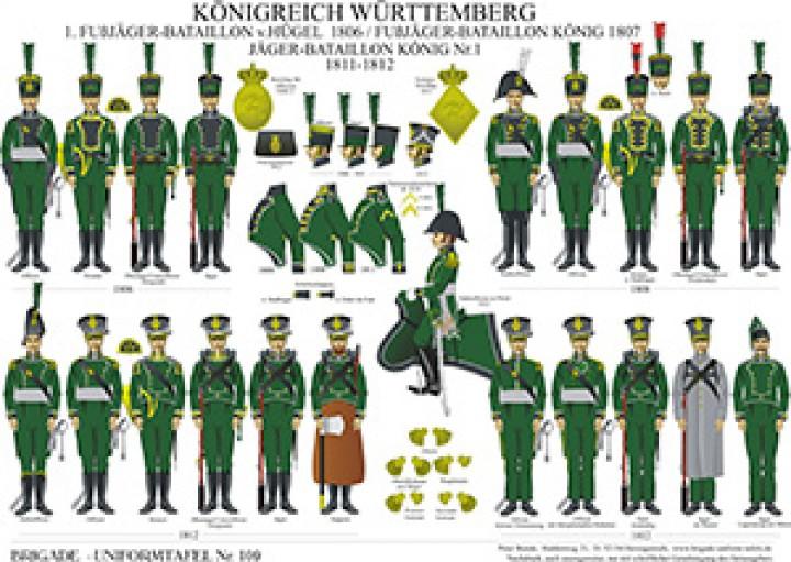 Tafel 109: Königreich Württemberg: Jäger-Bataillon König No.1 1807-1812