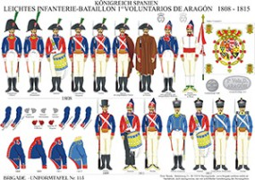 Tafel 115: Königreich Spanien: Leichtes Infanterie Bataillon 1. Voluntarios de Aragón 1808-1815