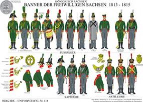 Tafel 118: Königreich Sachsen: Banner der Freiwilligen Sachsen 1813-1815, Fußjäger, Sappeure, Artill