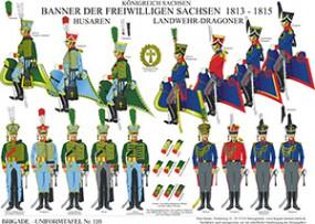 Tafel 120: Königreich Sachsen: Banner der Freiwilligen Sachsen 1813-1815, Husaren, Landwehr-Dragoner