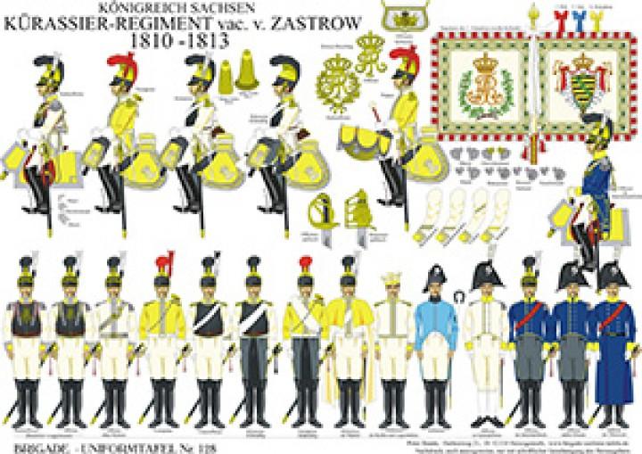 Tafel 128: Königreich Sachsen: Kürassier-Regiment v. Zastrow 1810-1812