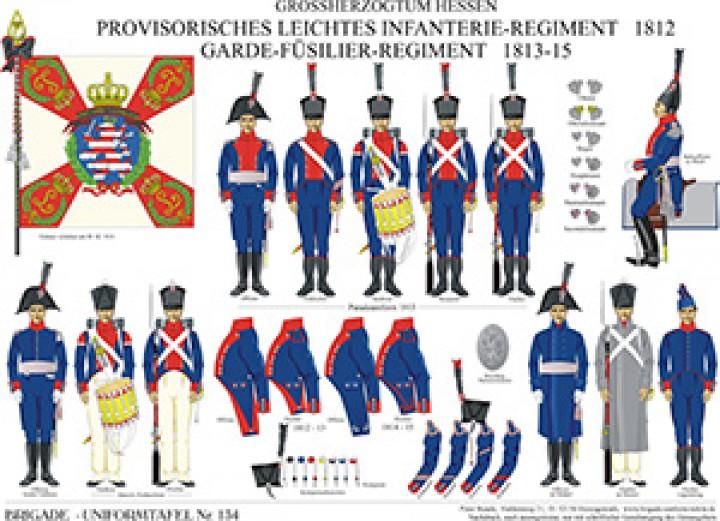 Tafel 134: Großherzogtum Hessen-Darmstadt: Provisorisches Leichtes Infanterie-Regiment 1812 / Garde-