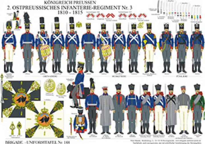 Tafel 144: Königreich Preußen: 2. Ostpreußisches Infanterie-Regiment No.3 1810-1815