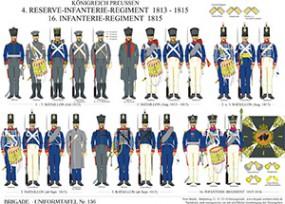 Tafel 156: Königreich Preußen: 4. Reserve-Infanterie-Regiment 1813-1815