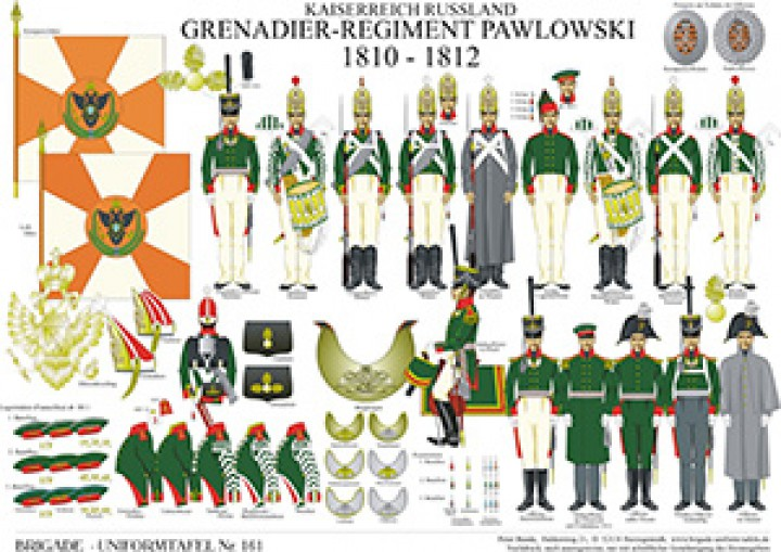 Tafel 161: Kaiserreich Russland: Grenadier-Regiment Pawlowski 1810-1812