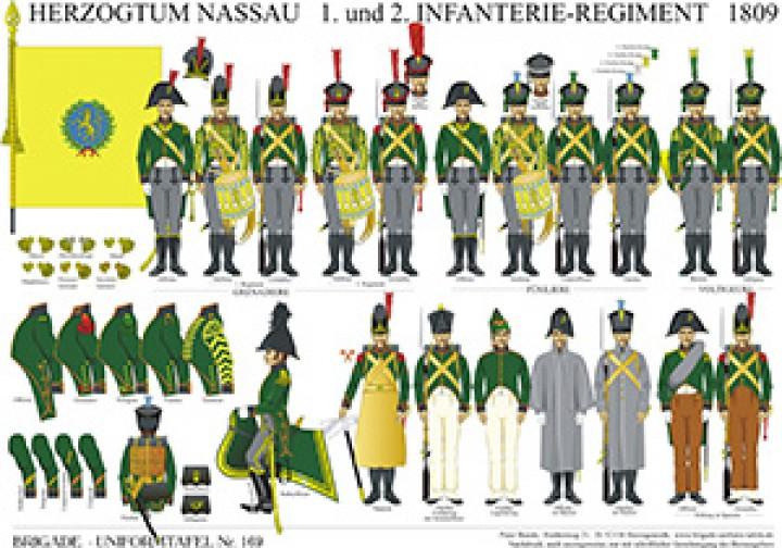Tafel 169: Herzogtum Nassau: 1. und 2. Infanterie-Regiment 1809