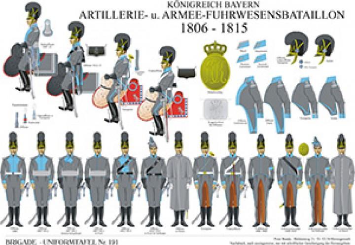 Tafel 191: Königreich Bayern: Artillerie- und Armee-Fuhrwesensbataillon 1806-1815