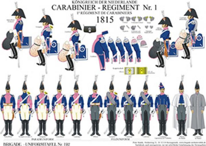 Tafel 192: Königreich der Niederlande: 1. Carabinier-Regiment 1815