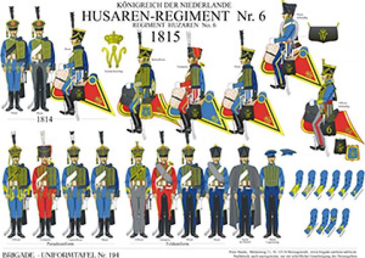 Tafel 194: Königreich der Niederlande: 6. Husaren-Regiment 1814-1815