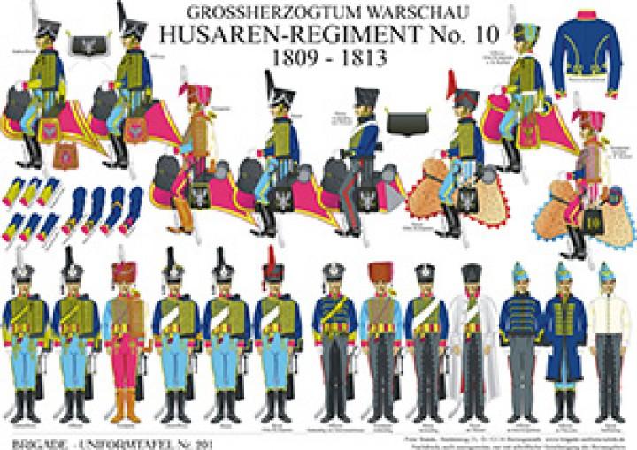 Tafel 201: Großherzogtum Warschau: Husaren-Regiment No.10 1809-1813