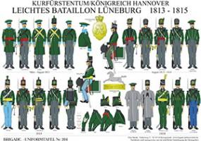 Tafel 204: Kurfürstentum/Königreich Hannover: Leichtes Bataillon Lüneburg 1813-1815