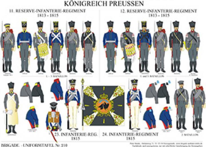 Tafel 210: Königreich Preußen: 11 und 12. Reserve-Infanterie-Regiment 1813-1815