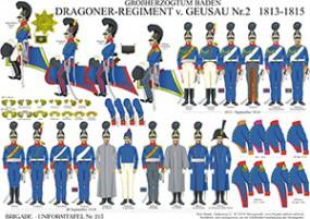 Tafel 213: Großherzogtum Baden: Dragoner-Regiment v.Geusau Nr.2 1813-1815