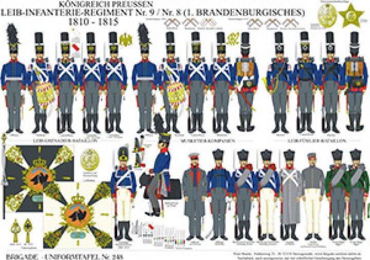 Tafel 248: Königreich Preußen: Leib-Infanterie-Regiment No.9/No.8 1810-15