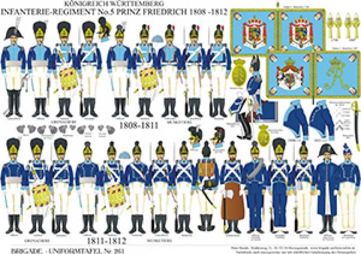 Tafel 261: Königreich Württemberg: 5. Linien-Infanterie-Regiment Prinz Friedrich 1808-1812