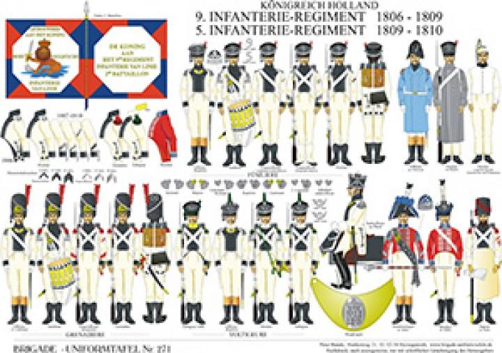 Tafel 271: Königreich Holland: 9. Infanterie-Regiment 1806-1809 / 5. Infanterie-Regiment 1809-1810