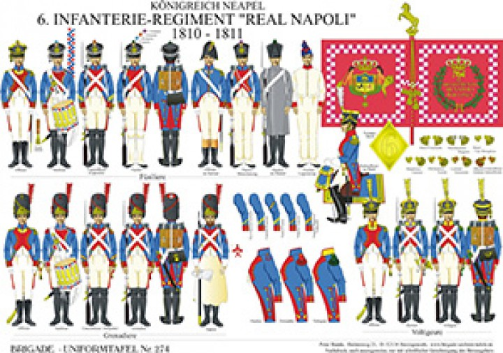 Tafel 274: Königreich Neapel: 6. Linien-Infanterie-Regiment Real Napoli 1810-1811