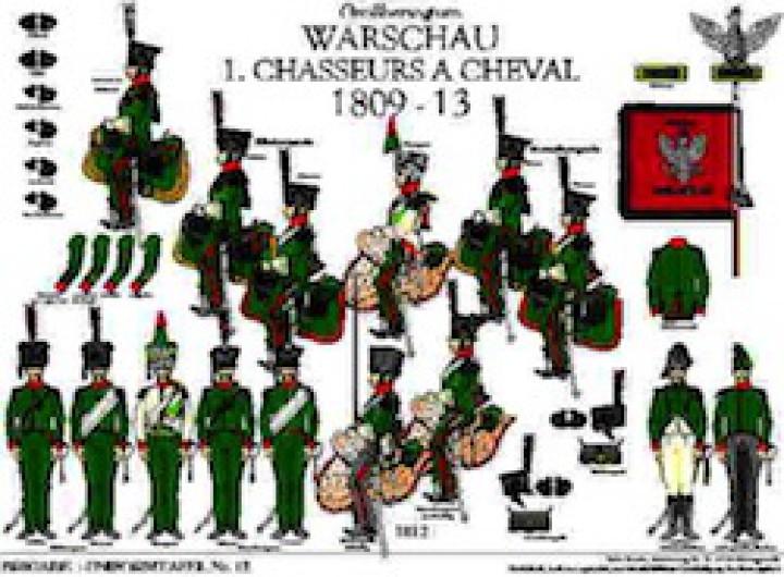 Tafel 12: Großherzogtum Warschau: 1. Chasseurs à Cheval 1809-1812