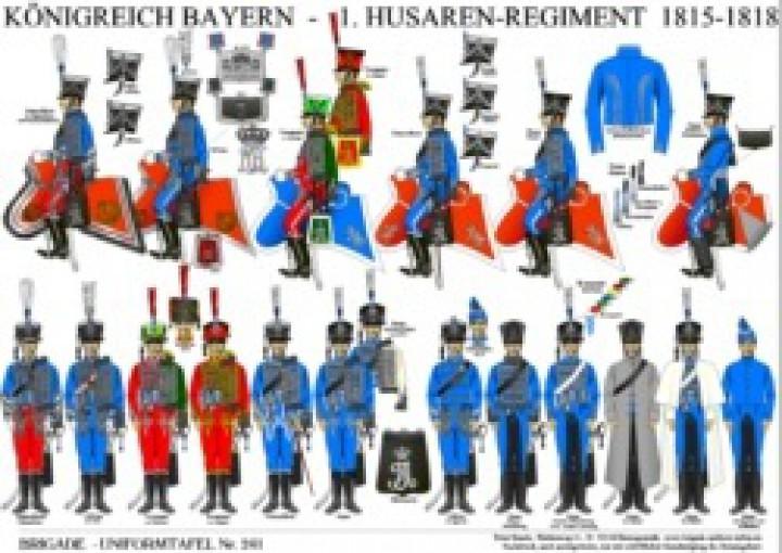 Tafel 241: Königreich Bayern: 1. Husaren-Regiment 1815-1818