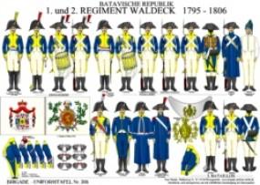 Tafel 308: Batavische Republik: 1. und 2. Regiment Waldeck 1795-1806