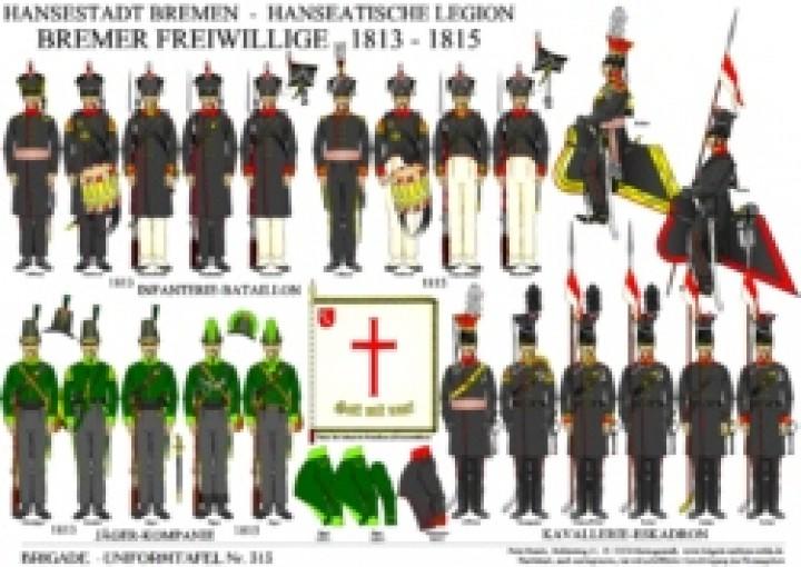 Tafel 313: Hansestadt Bremen / Hanseatische Legion: Bremer Freiwillige 1813-1815